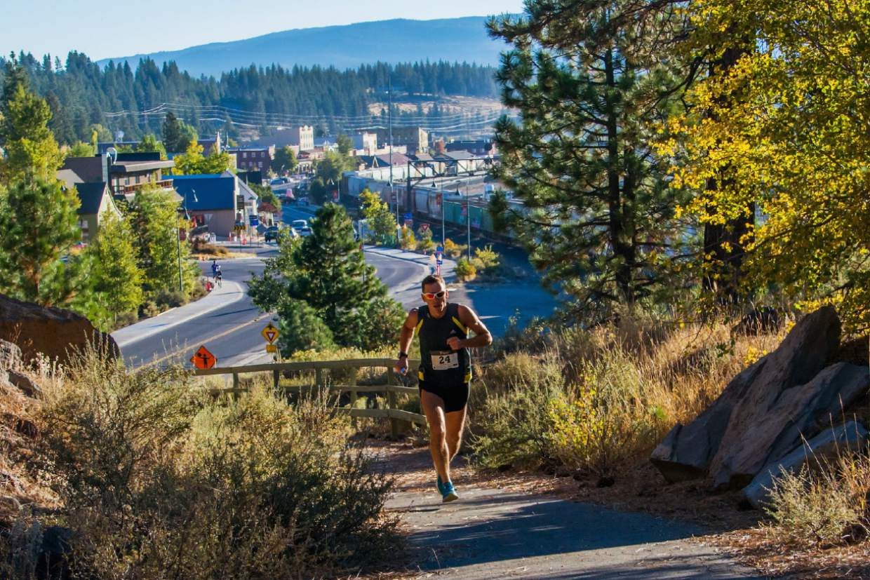 Marathon winner Marco Capelli climbs the hill to Sierra College shortly after the start of the Truckee Marathon last Sunday.