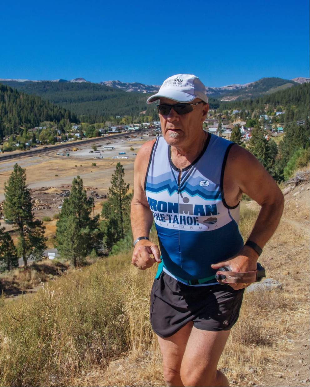 Truckee's Jim Meskimen, 72, starting the second loop of the marathon on the Glenshire Drive trail.