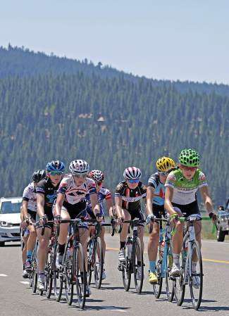 A small field takes off from Northstar across the Martis Valley in the Women's Under 23 group Wednesday morning. They covered 125 kilometers from Northstar to Loyalton and back again.