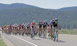 The Men's 17-18 age group pack was one of the larger fields for the road race from Northstar to Loyalton and Back Wednesday morning, seen here early in the race in the Martis Valley.