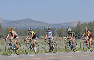 Racers in the Women's 15-16 field trek the final kilometers of Wednesday's road race, as part of the national championships for amateur cycling.