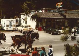 A horse-drawn carriage rides by Zirbel's Gateway Bottle Shop in the late 1960s.