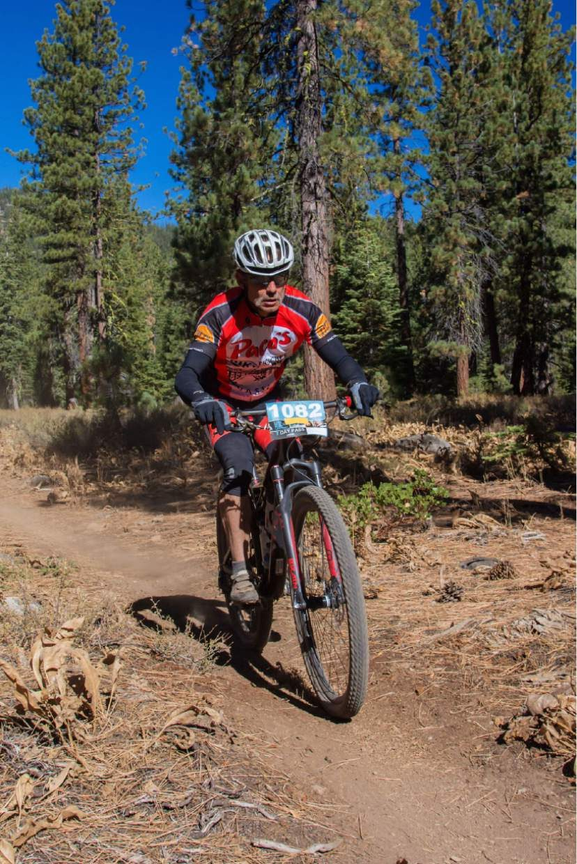 Joe Pace of Truckee rides the trails of the Elite Bike Course during the Great Trail Race.