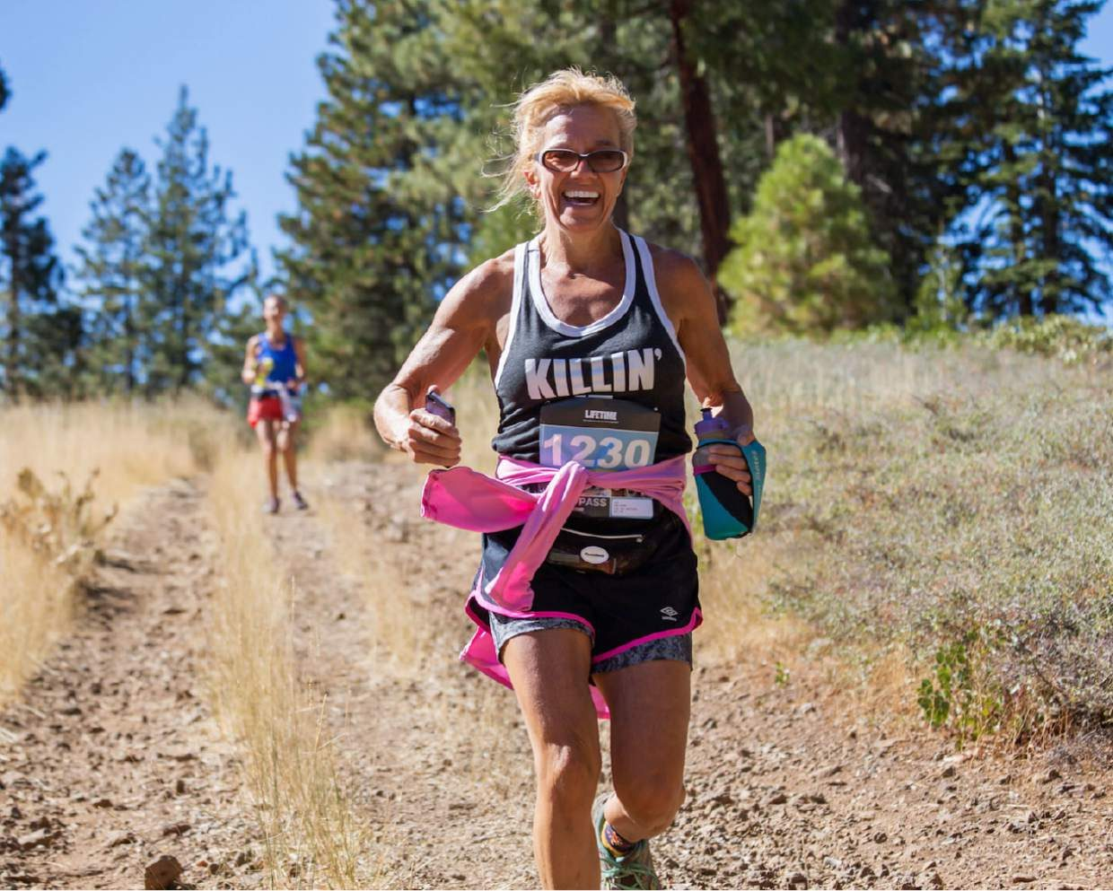 Truckee's Sandee Lade competes in the Elite Run Course during the inaugural Great Trail Race on Sunday.