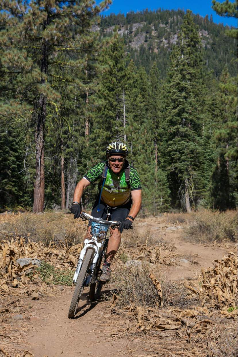 Truckee's Jim Meskimen races along the Classic Bike Course of the Great Trail Race.