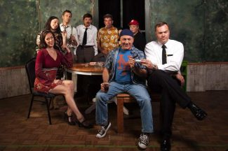"""The Odd Couple"" cast in Truckee. Standing in the back row from the left are Angele M. Carroll, Courtney Thurmon, Todd Tanis, Jeff Ridgel, Nick Pullen and Jennifer Boehm. In the front are the two leads, from left, Jim Sturtevant as Oscar Madison and Kane Schaller as Felix Ungar."