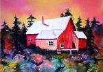 """This watercolor entitled """"Sunset at the Cabin"""" was painted by Truckee artist Eva Stramer Nichols."""