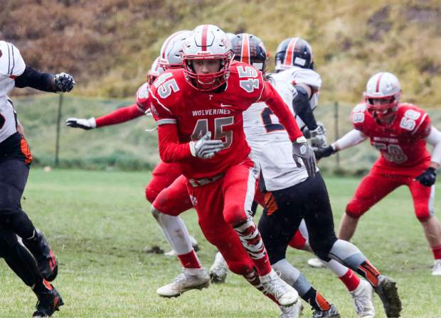Truckee's Michael Doughty (45) looks to get open on a passing route.