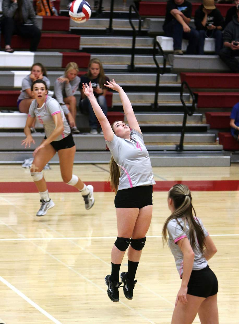 Truckee's Shelby Gendreau lofts up a set during the Wolverines' 3-1 win over Fallon on Monday at Truckee High School.