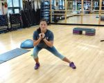 Vanessa Diaz demonstrates proper form in a side lunge.