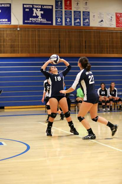 North Tahoe freshman setter Nell Shorin sets the ball to Jillian Argiris during the Lakers 3-2 loss to Incline on Thursday in Tahoe City.