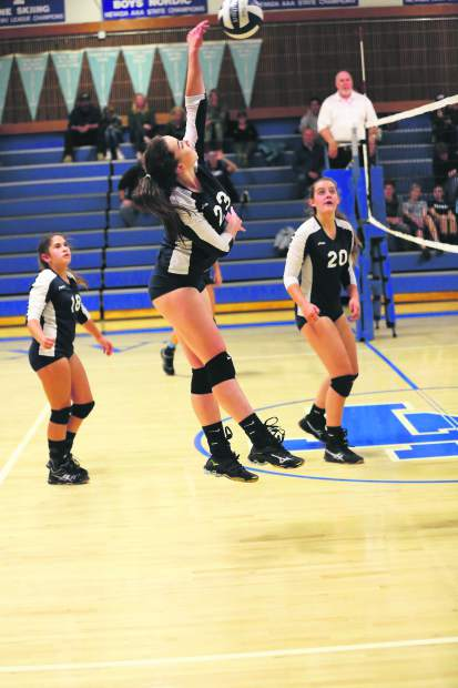 North Tahoe sophomore Maraid Allen spikes the ball over the net.