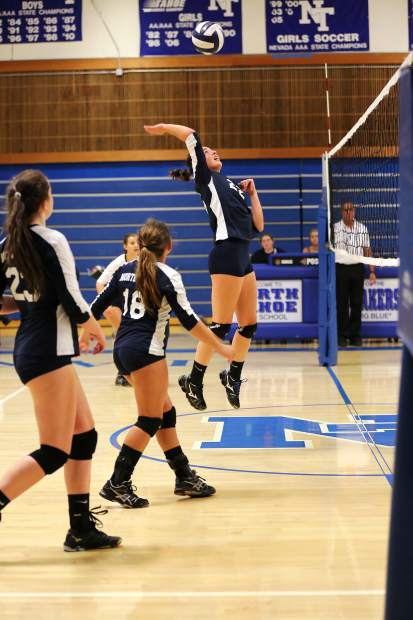 North Tahoe senior Jillian Argiris elevates to make a kill.