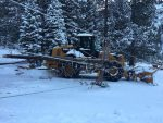 A backhoe backed into a power pole in Alpine Meadows on Nov. 27. This photo was taken by a Liberty Utilities employee from the Alpine Meadows Resort lower parking lot; it was provided to the Sierra Sun on Dec. 7.