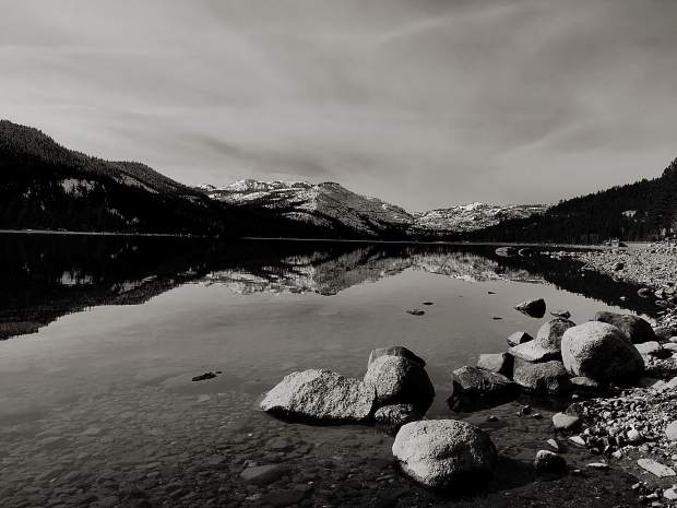 Calm Before The Storm: A look at a calm and gray Donner Lake before the series of snow storms last week.