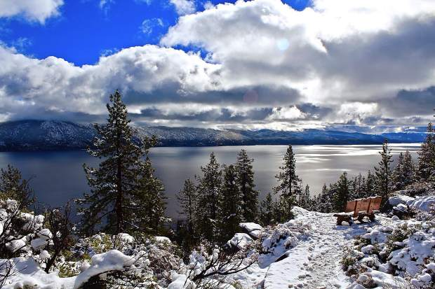 A Fresh Coat: Lake Tahoe + fresh December snowfall = always a beautiful sight, seen here from the North Shore. Photo: Susan Johnson