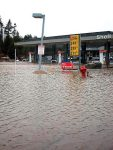 The Shell gas station at Highway 89 south near Deerfield Drive was flooded by Donner Creek in late December 2005.