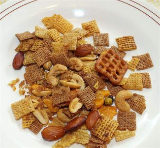 It appears someone has picked the Craisins out of this healthy Chex Mix ... still, it is packed full of good stuff.
