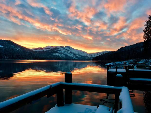 Scintillating Sunset: The sun sets on Christmas Day on Donner Lake.