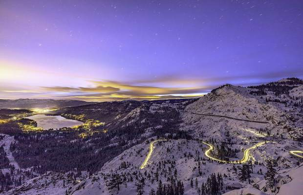 Amazing View: Donner Lake shimmers amid the night sky in late December.