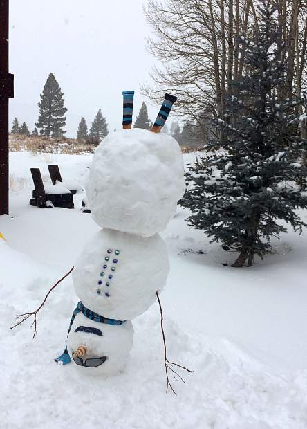"Head Over Heels: ""This is how happy we are to have snow in Glenshire,"" Dara Lee told us Jan. 3, after storms blanketed the region. Photo: Dara Lee"