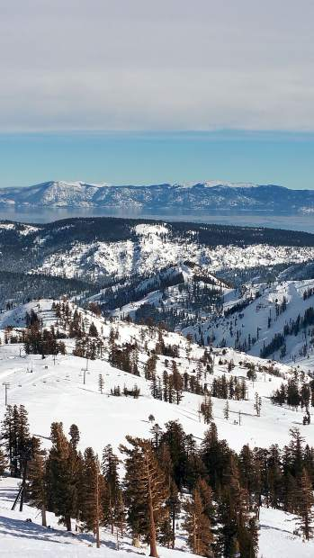 Top Of The World: Lake Tahoe is seen in the background on Jan. 17 in this image taken at the top of Squaw Valley, from Emigrant Chair overlooking Upper Mountain. Photo: Bella Bear
