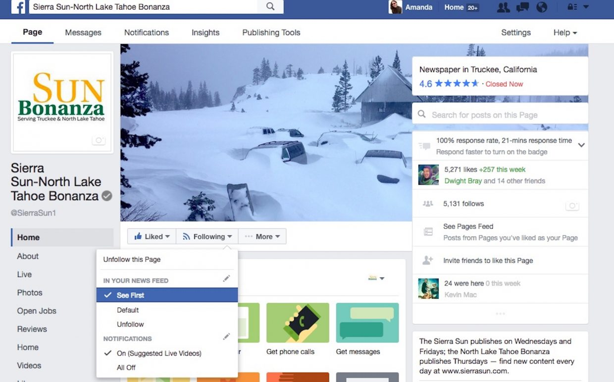 This screenshot of the Sierra Sun's Facebook profile shows how to make sure you see our posts in your timeline.