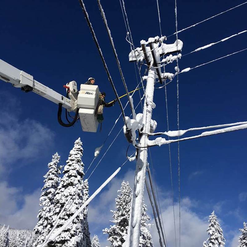 A Liberty Utilities crew member hard at work this week at Lake Tahoe.