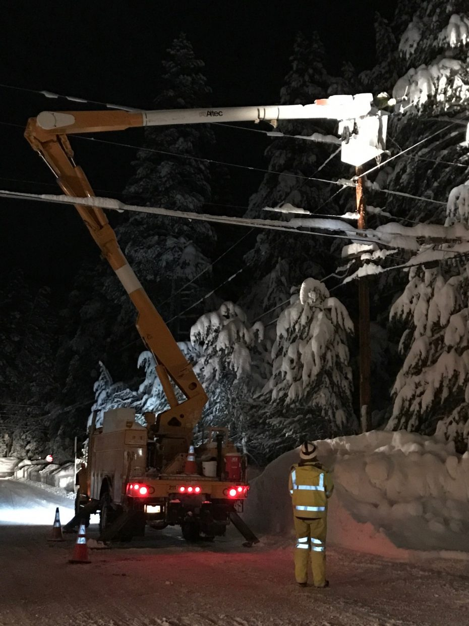 Truckee Donner Public Utility District Crews worked through the night Jan. 12 to restore power in the Presser Lakeview Estates Neighborhood.