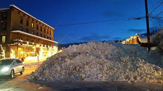 A Big Dilemma: Where to put all the snow, seen here in late January, in downtown Truckee? Photo: Carol Herrington