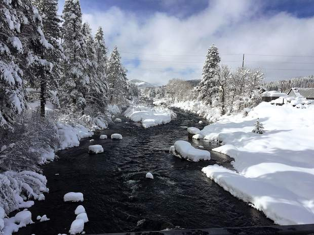Rollin On the River: The Truckee River is seen from foot bridge below county park on Feb. 2. Photo: Ted Schmidt