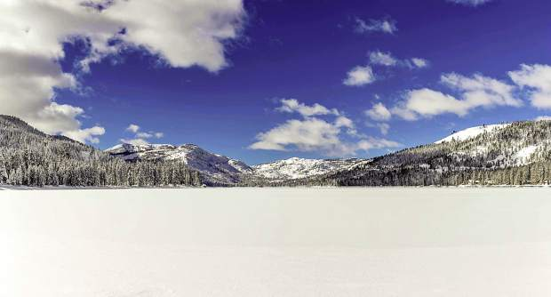 Fantastic & Frozen: Donner Lake sits frozen amid sunny skies in late January. Photo: Chris Turner / Rimfire Photography
