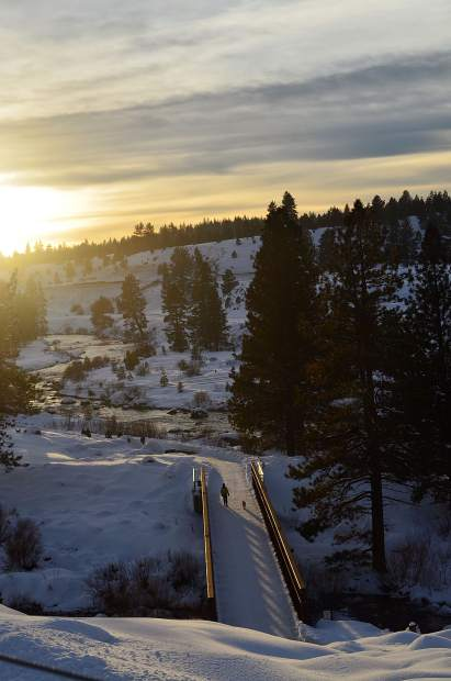 View From Above: A look at the Truckee River Legacy Trail from the Glenshire trailhead, overlooking the pedestrian bridge, on Jan. 29. Photo: Karen C. Jones