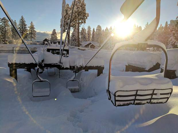 Need A Lift? Homewood ski resort on the West Shore was buried in snow Wednesday morning of this week. Photo: Homewood Mountain Resort