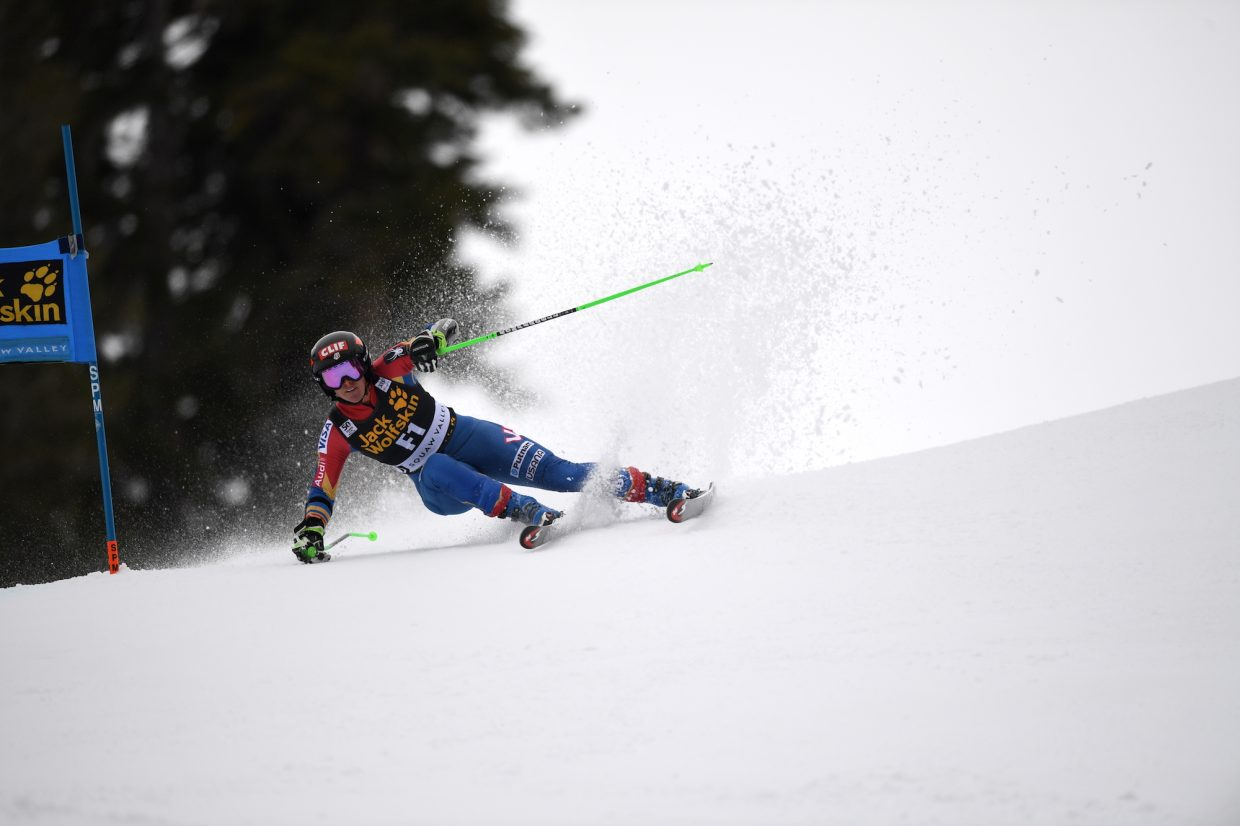 Stacey Cook, a Truckee native and member of the U.S. Ski Team, was one of the course's forerunners Friday before the official race began.