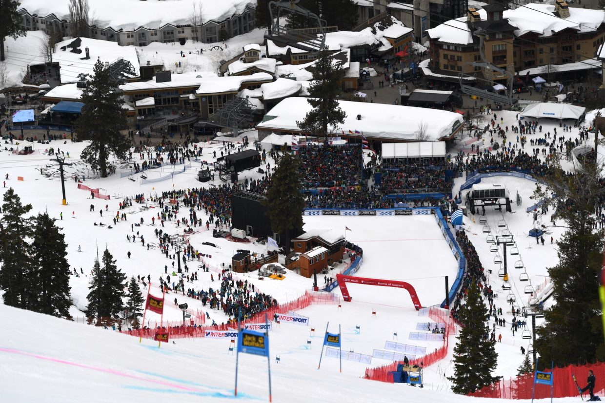 A look from above at the Red Dog giant slalom course Friday.