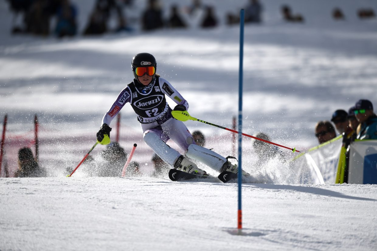 AJ Hurt of the Squaw Valley Ski Team was a forerunner skier for the course on Saturday.