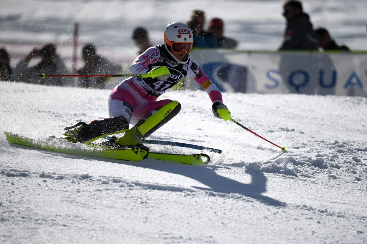 Lila Lapanja, USA, an Incline Village native, skis down the first run of the slalom course on Saturday. She did not finish her first run.