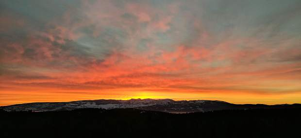 Orange Crush: The March 10 sunrise is captured from high above Lake Tahoe in Tahoe City. Photo: Anna Yamauchi