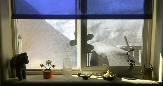 Deep Thoughts: The snow sure did accumulate in early March, as seen from inside a home in Tahoe Donner. Photo: Richard R. Rodriguez