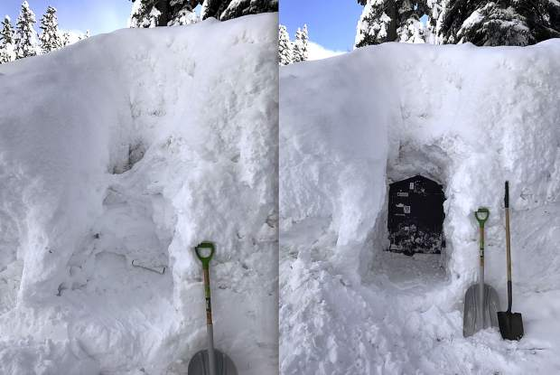Before And After: These pictures show just how much snow was on the ground — taken before and after the storm of March 4 in Tahoe Vista. Photos: Paul Ackerman