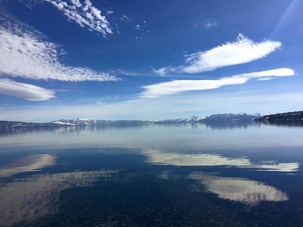 Crystal Blue Persuasion: With the recent spring-like weather, March 17 was a beautiful day to be by the lake, seen here at Carnelian Bay. Photo: Margie Lockwood