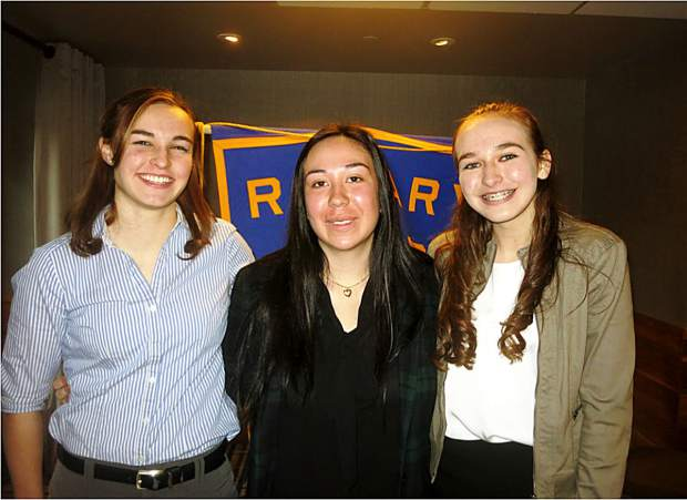 ROTARY SPEECH CONTEST WINNERS: From left are winners of the Incline Rotary club speech contest held March 23 at the Hyatt: Harmony Bates (IHS 12th grader, third place, $50), Carolyn Eppolito (IHS 10th grader, second place, $100) and Serena Faulkner (IHS 9th grader, first place, $150). IHS students Emily Donahue and Matthew Cornell also competed. Faulkner and Eppolito will compete in the Rotary Area III (Incline Village, Truckee, Tahoe City) contest on April 18 at Truckee High School at 5 p.m. The Area 3 winner will seek the top spots at the 2017 District 5190 Conference held in Reno on May 20.
