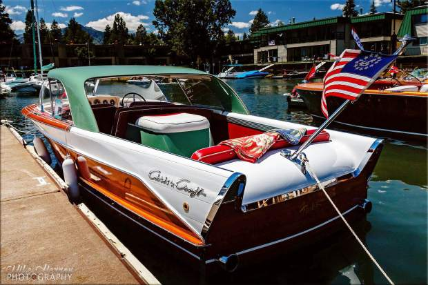 A boat entered in a previous Wooden Boat Classic is tied at the dock. South Tahoe Wooden Boat Classic returns to Tahoe Keys Marina on Friday, July 29, and Saturday, July 30.