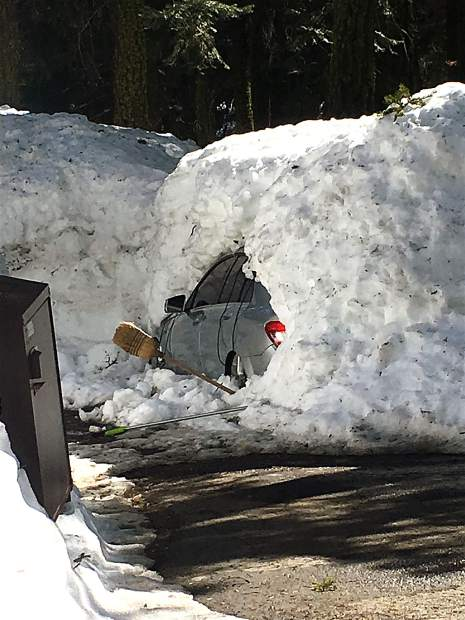 Told You So: Steve Kaagan's neighbors recently bought a house in Tahoe City. He told us he stopped by after the first big storm this winter and told the owner what would happen if he didn't shovel. The result is seen here, in mid-March after snowmelt. Photo: Steve Kaagan