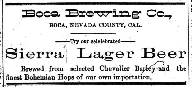 An 1887 newspaper ad for Boca Beer, in the Reno Evening Gazette.