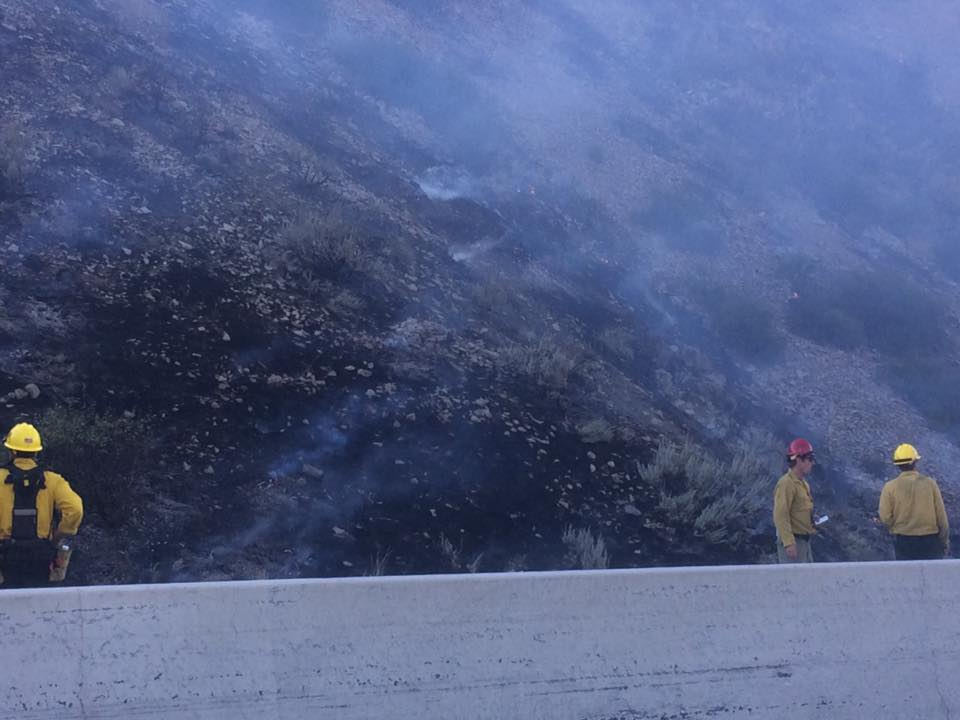 Wildfire forces closure of highway at Nevada-California line