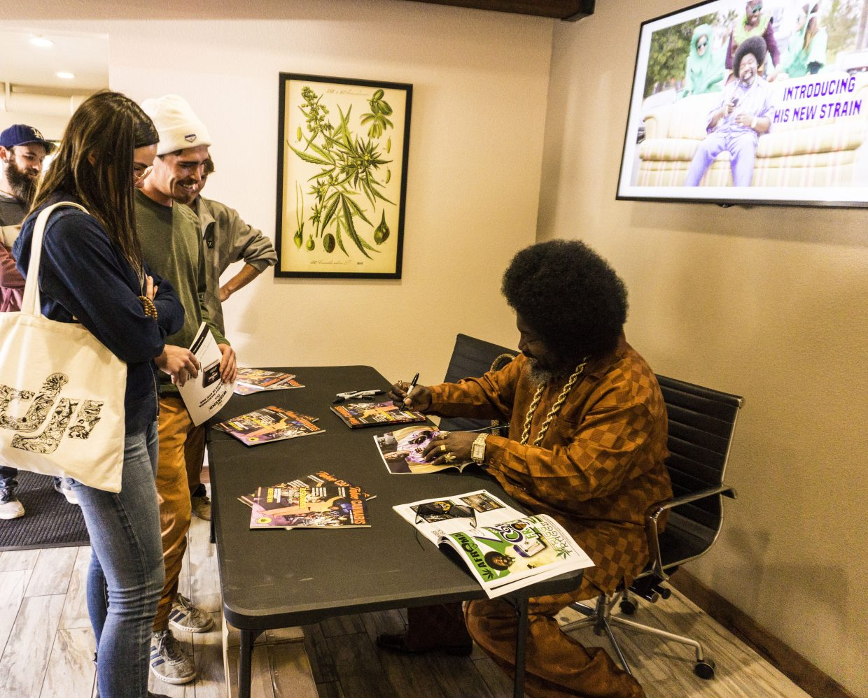 Afroman signs autographs for fans during a visit to NuLeaf in Incline Village.
