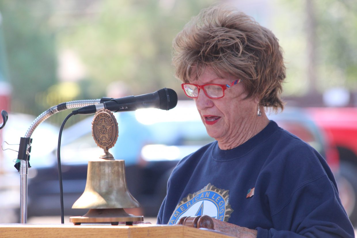 Carol Olivas, president of the American Legion Ladies Auxiliary, recounts the events of Sept. 11, 2001.