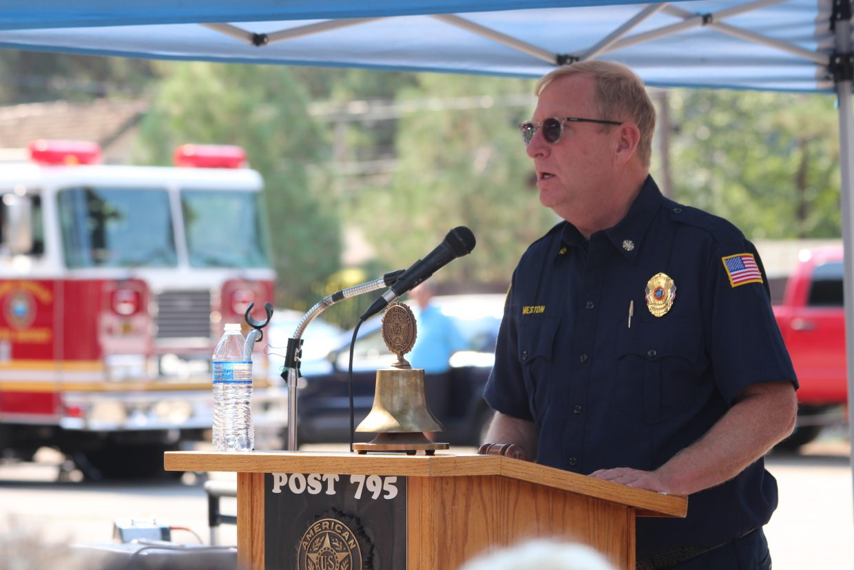 South Lake Tahoe Fire Rescue Chief Jeff Meston, who lost three firefighting friends on Sept. 11, 2001, spoke on the importance of duty.